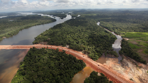 Construction continues at the Belo Monte dam complex in the Amazon basin in June 2012 near Altamira, Brazil. Belo Monte will be the world's third-largest hydroelectric project, and will displace up to 20,000 people living near the Xingu River. (Getty Images)