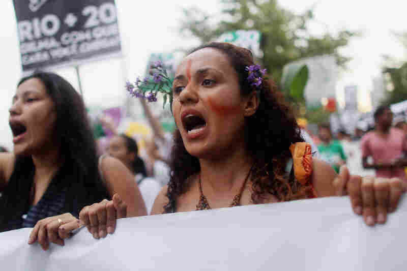 Protesters demonstrate against the Forest Code and Belo Monte dam project at the Rio+20 countersummit last June, in Rio de Janeiro. The summit aimed to overcome years of deadlock over environmental concerns.