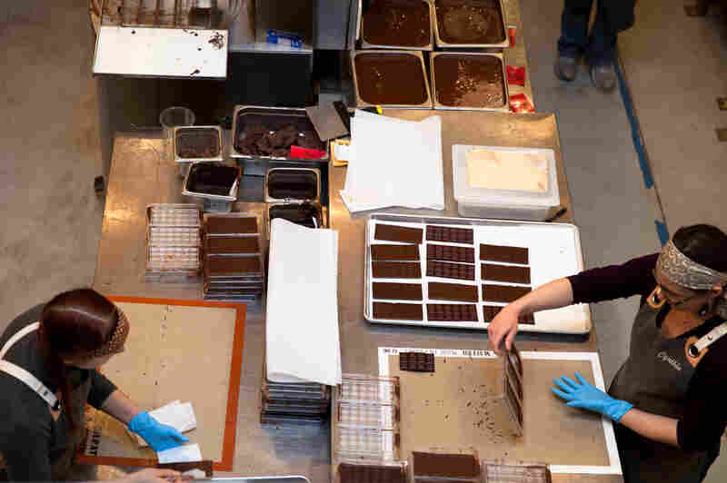 The Dandelion Chocolate factory has an open workspace where patrons can watch--and smell--the chocolate as it is ground, conched, formed into bars, and wrapped.