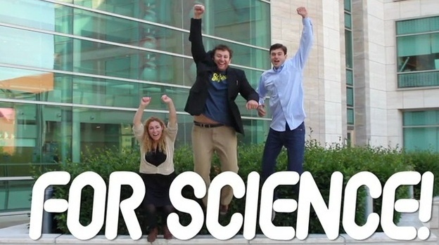 Car commercial? Nope. Jessica Richman, Zachary Apte (center) and William Ludington are looking to the crowd for money to fund uBiome, which will sequence the genetic code of microbes that live on and inside humans. (Courtesy of uBiome)
