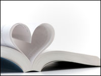Book with pages making the shape of a heart.