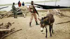 Soldiers secure the port in Gao, Mali on Tuesday, Feb. 12, 2013.