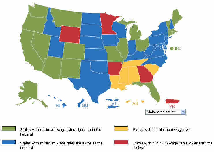 Minimum wage U.S. map.