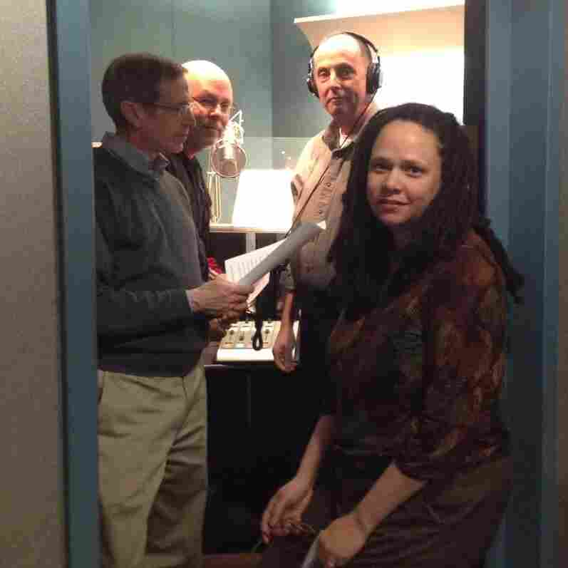 How many NPR staffers can you fit in one booth? From left to right: Craig Windham, Dave Mattingly, Mark Memmott and Korva Coleman.