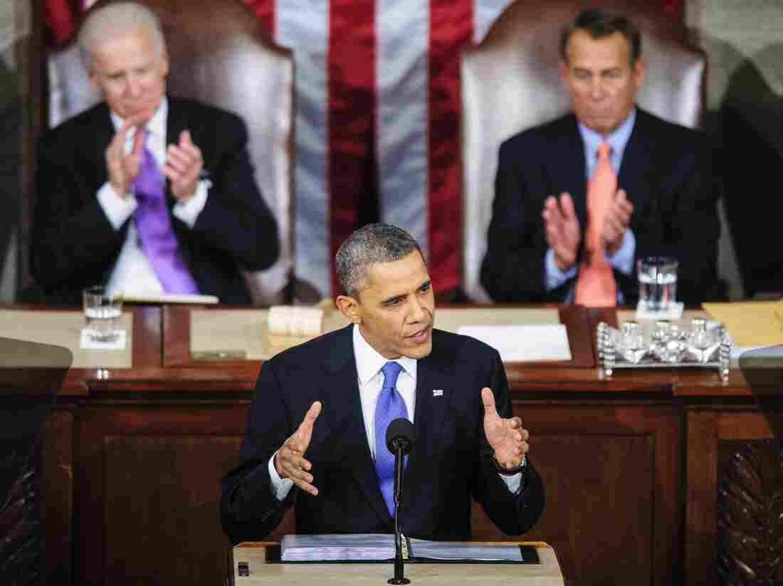 President Obama during Tuesday night's State of the Union address. Behind him: Vice President Biden (left) and House Speaker John Boehner, R-Ohio.
