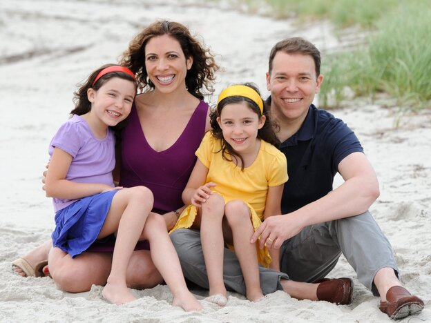 Bruce Feiler and his family; daughters Tybee and Eden Feiler, and wife Linda Rottenberg. Feiler is a <em>New York Times</em> columnist and the author of several books, including <em>The Council of Dads</em> and <em>Walking the Bible</em>.