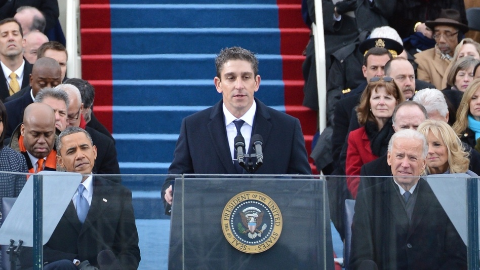 "Richard Blanco reads his poem ""One Today"" during President Obama's second inaugural, on Jan. 21. (AFP/Getty Images)"