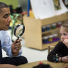 President Obama plays a learning game while visiting children at College Heights Early Childhood Learning Center on Thursday in Decatur, Ga. Obama's campaign-style trip this week was to end with a nonworking stop in Florida.