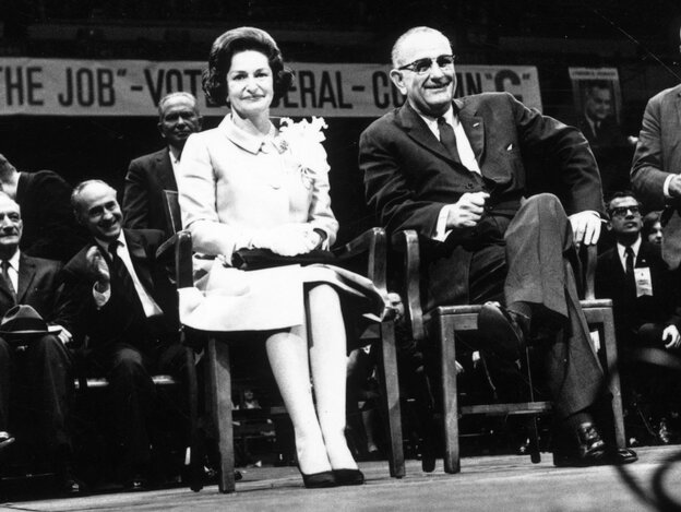 Lady Bird Johnson and  President Lyndon Johnson at an election rally in 1964.