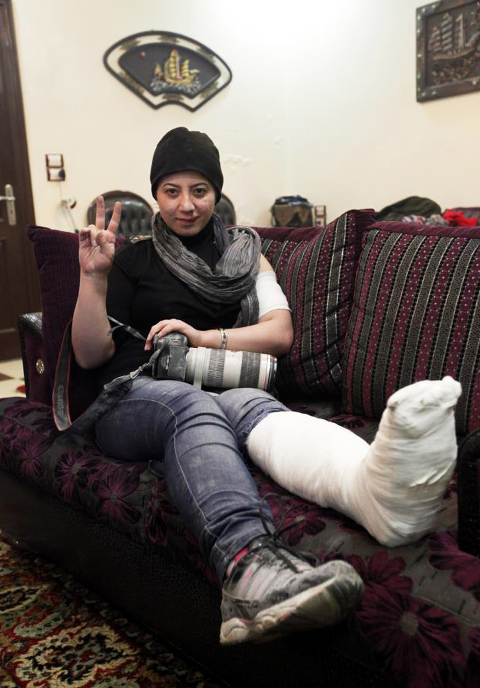 Kelze recently suffered a broken ankle when a wall collapsed on her during a firefight. She is recovering in Turkey, but plans to return to the front lines after she heals. (Courtesy of Noor Kelze)