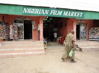 A typical Nigerian film market in Lagos. Though physical distribution of Nollywood films is booming, the digital market has also grown, thanks to a plugged-in African diaspora.