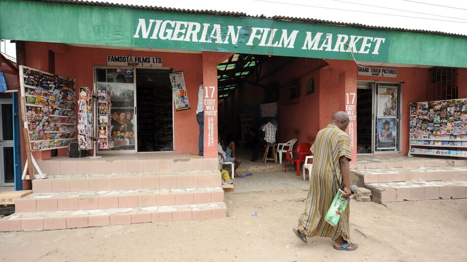 A typical Nigerian film market in Lagos. Though physical distribution of Nollywood films is booming, the digital market has also grown, thanks to a plugged-in African diaspora. (AFP/Getty Images)