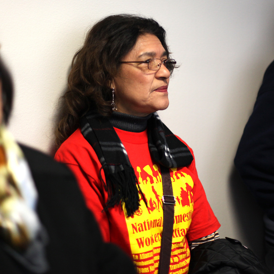 Eva Aucapina, originally from Ecuador, has been a domestic worker for more than 15 years. She traveled from Los Angeles with CHIRLA, a pro-immigrant-rights group, to Washington, D.C., this week to attend a Senate Judiciary Committee hearing on immigration.