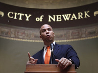 Newark, N.J., Mayor Cory Booker speaks last year at a ceremony at City Hall.