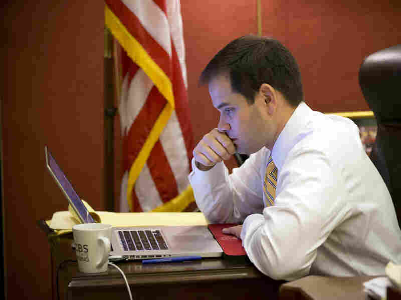 Sen. Marco Rubio, R-Fla., works in his Capitol Hill office on Feb. 7.
