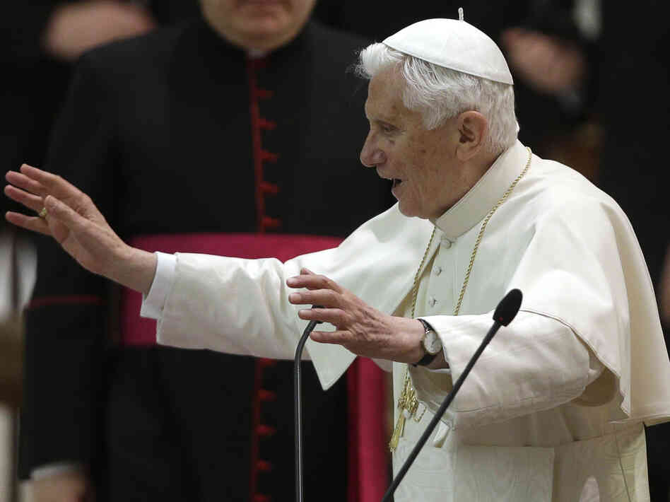 Pope Benedict XVI delivers his blessing after an audience with the Roman clergy in the Paul VI Hall at the Vatican on Thursday.