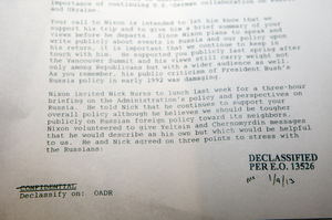 In this Tuesday, Feb.12, 2013 photo, a confidential National Security Council memo from a senior President Bill Clinton aide who spent three hours with former President Richard Nixon, shortly before the former president would make his 10th, and final, trip to Russia.