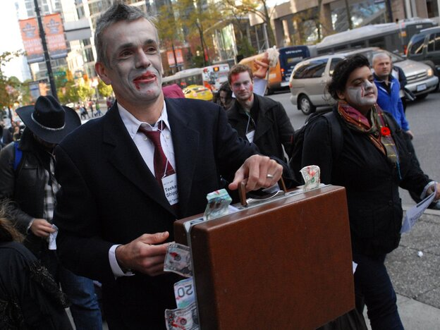 """Canadian zombies dress for success. (An Occupy Vancouver """"Zombie Walk"""" in October 2011.)"""