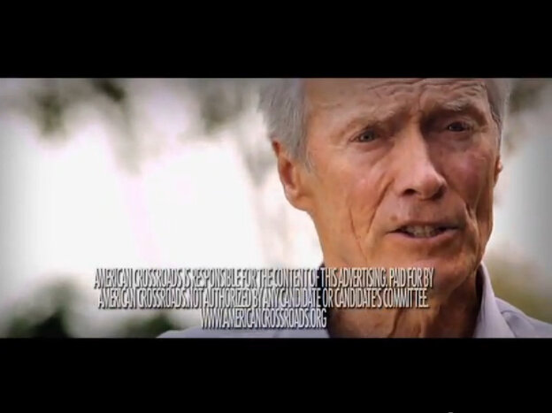 Screenshot of a 2012 TV ad, featuring actor Clint Eastwood for Mitt Romney, by the Republican group American Crossroads.