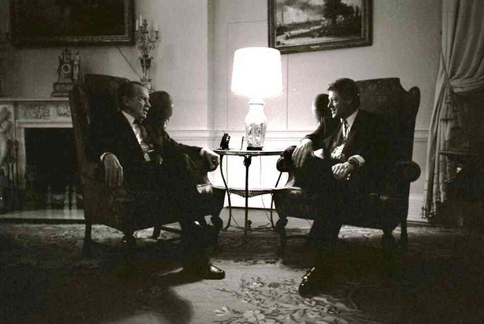 Former President Richard Nixon visits with President Bill Clinton in the family quarters of the White House, March 8, 1993.