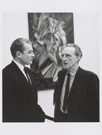 Marcel Duchamp, shown here with art historian Henri Marceau at the Armory Show 50th Anniversary Exhibition in 1963, painted the revolutionary Nude Descending a Staircase when he was just 26 years old.