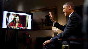 President Obama video chats with a questioner in 2012.