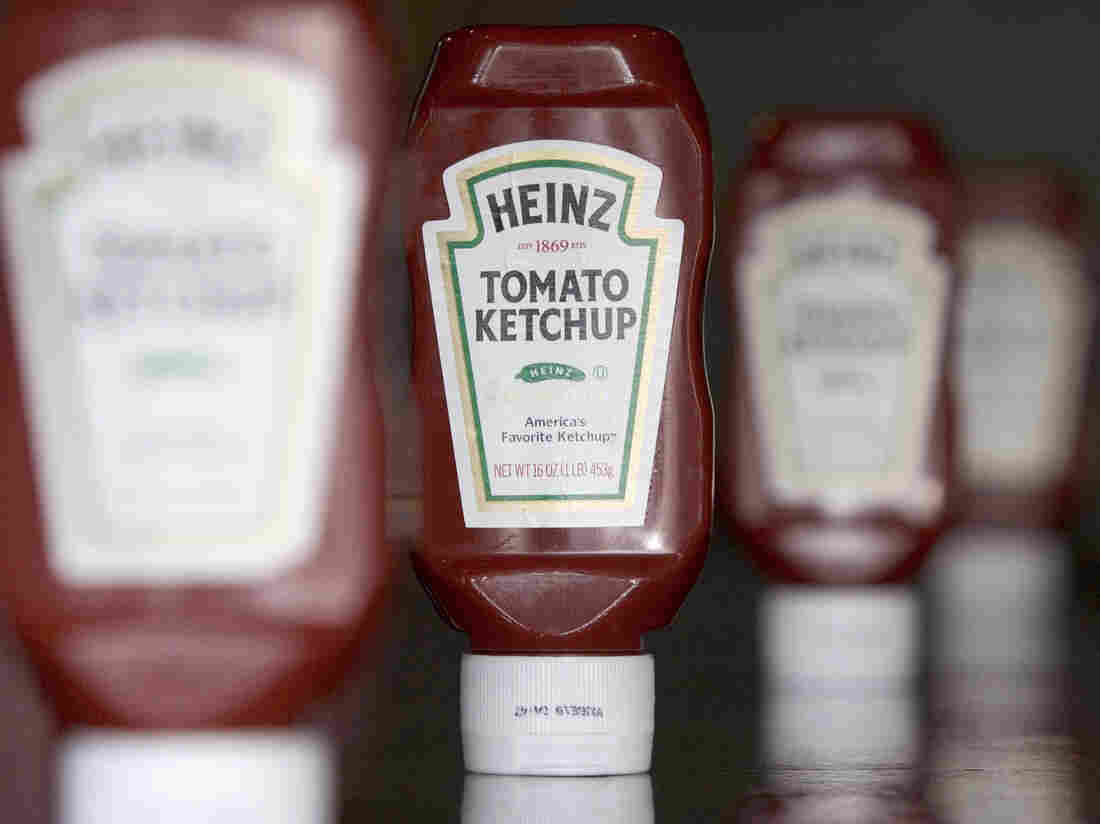 Bottles of Heinz ketchup.