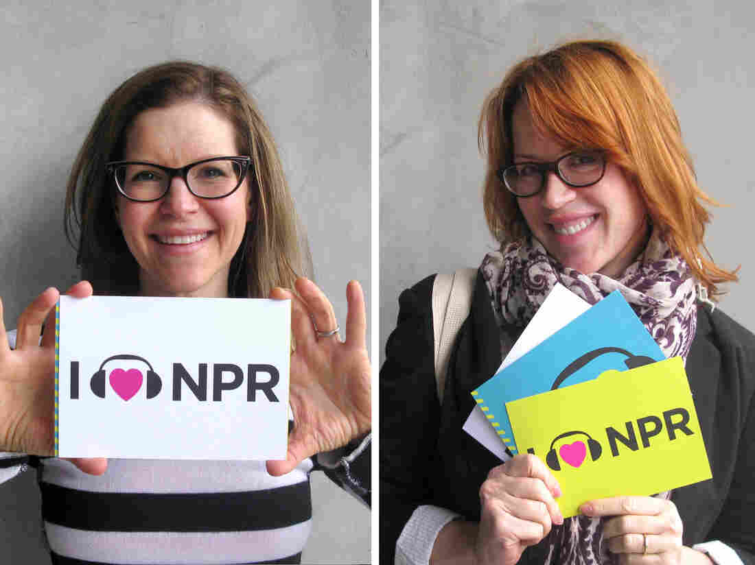 An I Heart NPR mashup: Lisa Loeb (left) and Molly Ringwald (right), each at NPR West.