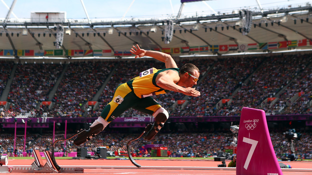 Oscar Pistorius of South Africa leaves the starting blocks of the men's 400-meter race at the 2012 London Olympics. (Getty Images)