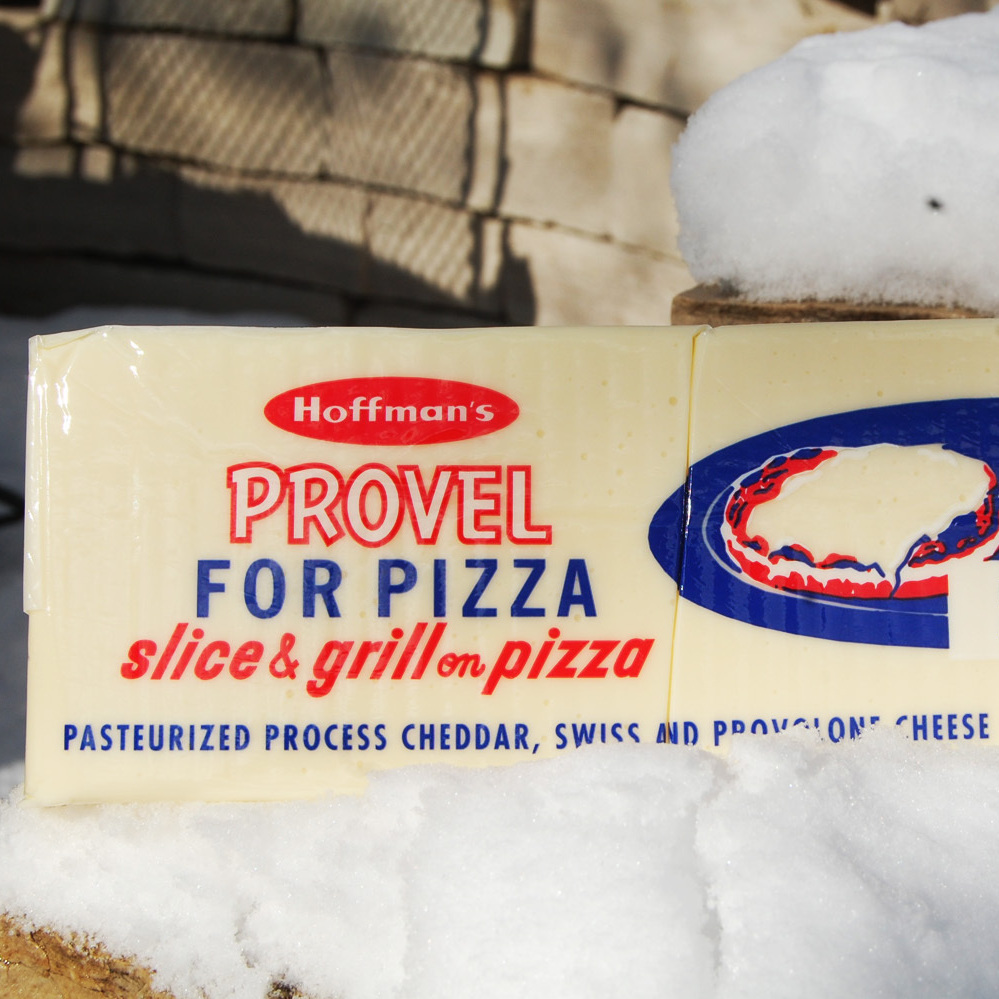 Provel, whose color is not quite as white as snow.
