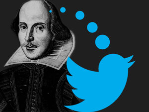Iambic pentameter, a type of poetic line which Shakespeare often wrote, appears on Twitter as well. A program called Pentametron collects such tweets and turns them into poetry.