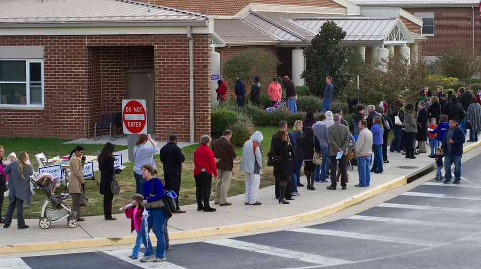 Voters wait in long lines to cast their ballots on Nov. 6 at Victory Elementary School in Bristow, Va.