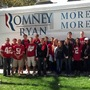 Ohio State College Republicans await Mitt Romney's son, Craig, who canvassed with them in Columbus last October.