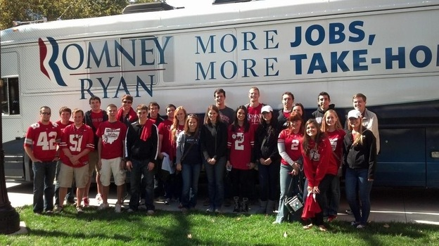 Ohio State College Republicans await Mitt Romney's son, Craig, who canvassed with them in Columbus last October. (Courtesy College Republicans at The Ohio State University)