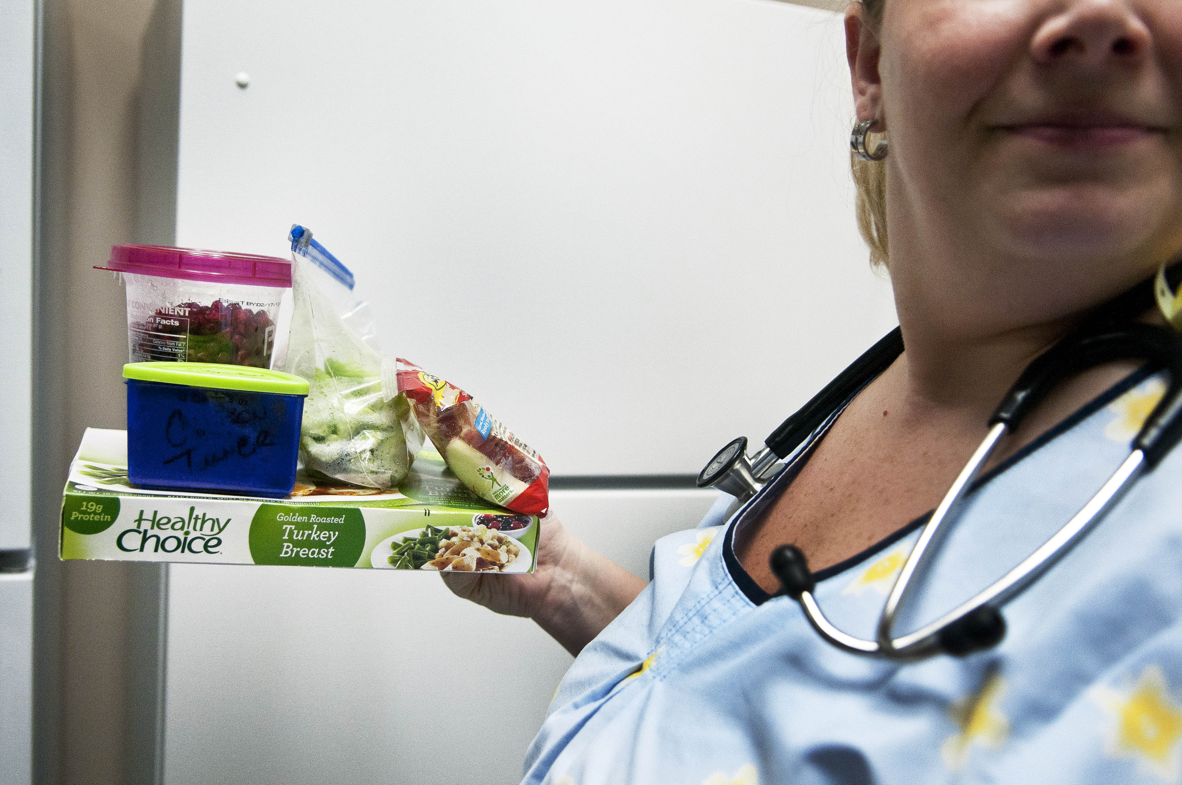 Nurse Peggy Renzi makes the effort to bring a healthy lunch to work every day instead of buying snacks from the vending machines or grabbing fast food.