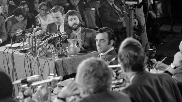In this 1971 file photo, the real-life Frank Serpico (center, with beard) appears at a hearing during an investigation into police corruption in New York City. (AP)