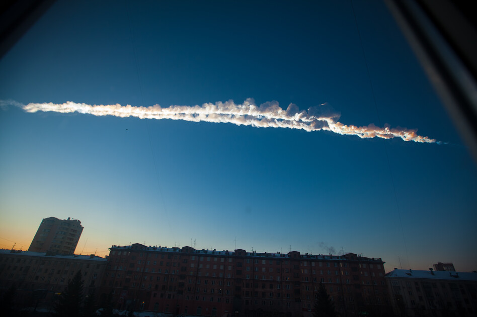 In this photo provided by Chelyabinsk.ru a meteorite contrail is seen over Chelyabinsk on Friday.