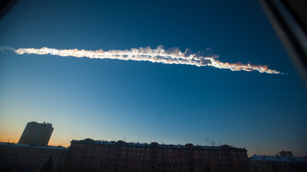 In this photo provided by Chelyabinsk.ru a meteorite contrail is seen over Chelyabinsk on Friday. (AP)