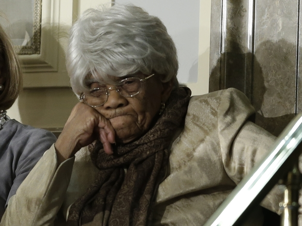 Desiline Victor, 102, of North Miami, awaits the start of President Obama's State of the Union address, which she attended Tuesday in the U.S. Capitol. The president spoke about Victor's long wait to vote last year.