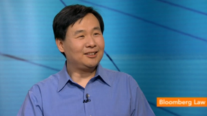 Screen shot of Ask Me Another Puzzle Guru Art Chung on Bloomberg TV.