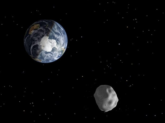 An illustration of what asteroid 2012 DA 14 may look like as it approaches Earth.