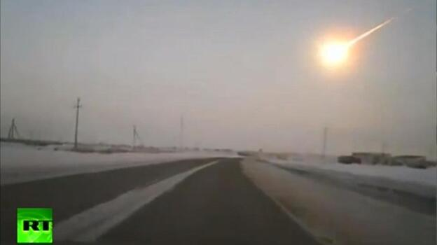 One of the dashcam videos recorded Friday when a meteor appeared over Russia. (RussiaToday)