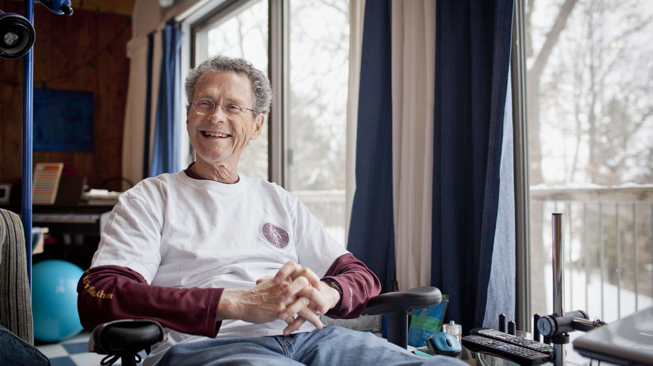 Don Wright was diagnosed with multiple myeloma in 2003 only days after completing his first marathon. Since then he has run 70 marathons in all 50 states. (Ariana Lindquist for NPR)