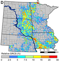 Hot spots of grassland conversion: This map shows the percentage of existing grasslands that were converted into corn or soybean fields between 2006 and 2011.
