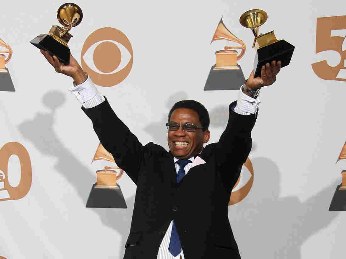 Herbie Hancock poses backstage at the 50th Grammy Awards in Los Angeles on February 10, 2008.
