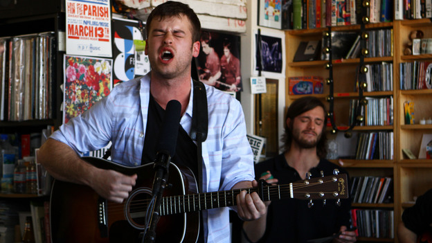 Night Beds' members perform a Tiny Desk Concert on Feb. 6, 2013. (for NPR)