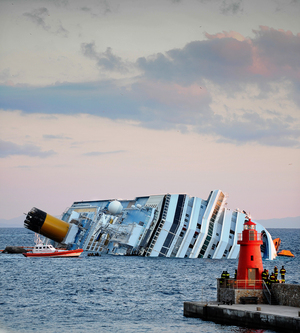 The cruise liner Costa Concordia ran aground off the island of Giglio, Italy, in January 2012.