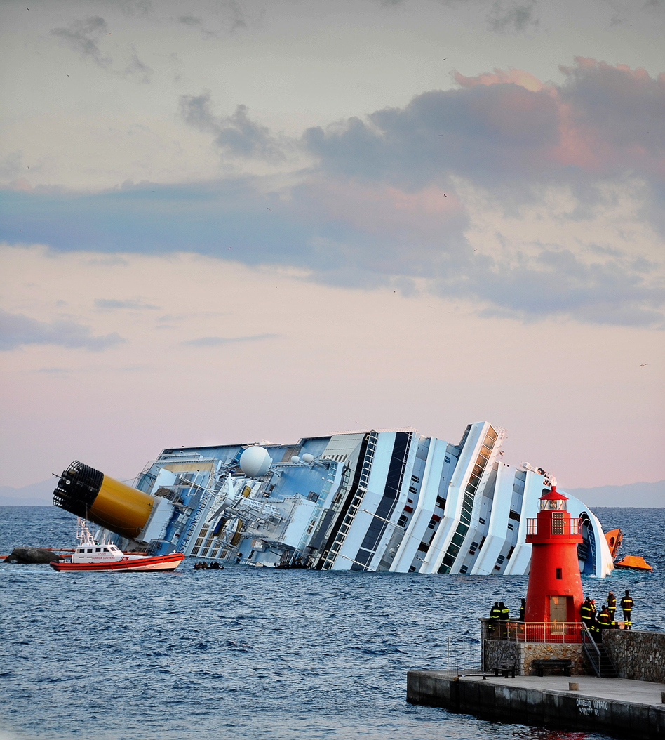 The cruise liner Costa Concordia ran aground off the island of Giglio, Italy, in January 2012. (AFP/Getty Images)