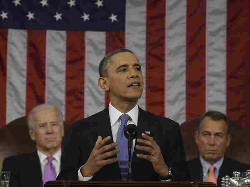 President Barack Obama, flanked by Vice President Joe Biden, left, and Speaker of the House Representatives John Boehner during the State of the Union address on Tuesday.