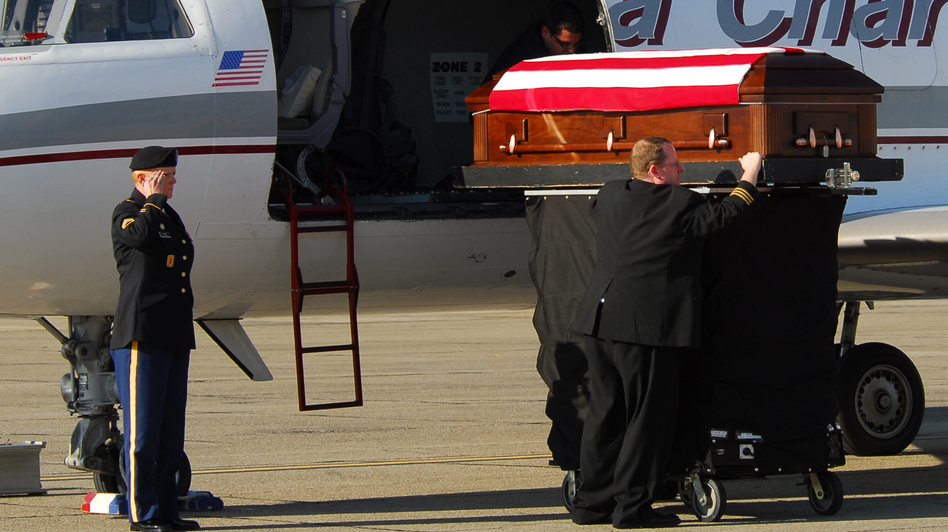 Tracy met Donna's coffin when it arrived in Fort Bragg, N.C. (North Carolina National Guard Public Affairs Office )